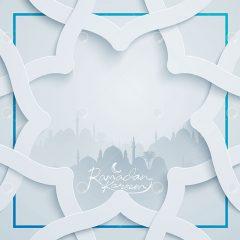 وکتور لایه باز اسلیمی طرح سفید ماه رمضان