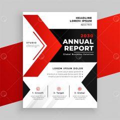 وکتور فلایر بروشور تجاری طراحی مدرن زمینه قرمز