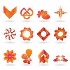 مجموعه طرح وکتور لوگو با موضوعات مختلف با رنگ نارنجی