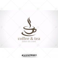 وکتور لوگو کافی شاپ با طرح قهوه و چای