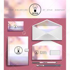 وکتور ست اداری شامل نامه و قلم زمینه صورتی