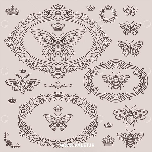 دانلود وکتور ترمه طرح پروانه و زنبور بته جقه