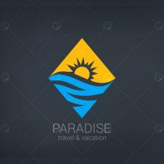 وکتور لایه باز لوگو با طرح دریا و خورشید
