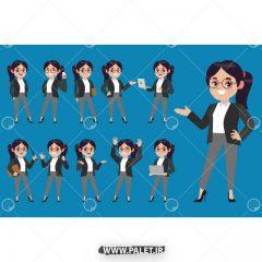 دانلود وکتور کاراکتر کارتونی خانم آموزشی زمینه آبی
