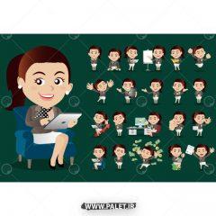 دانلود وکتور کاراکتر کارتونی خانم تجاری زمینه سبز
