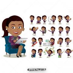 دانلود وکتور کاراکتر کارتونی خانم سیاه پوست اداری