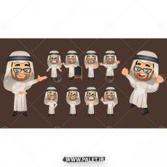 وکتور کاراکتر کارتونی مرد با لباس عربی زمینه قهوه ای