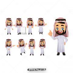 وکتور انیمیشن مرد عرب در حالت چهره های مختلف