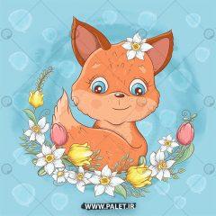 دانلود وکتور کودکانه عروسکی روباه رمانتیک