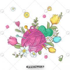 دانلود وکتور کودکانه عروسکی گل و گیاه