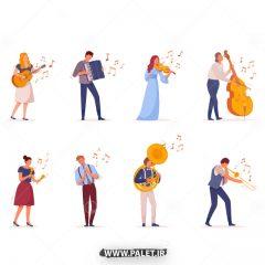 دانلود طرح وکتور هنری در حین نواختن موسیقی