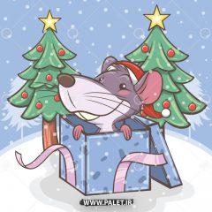 دانلود وکتور هدیه کریسمس موش بامزه