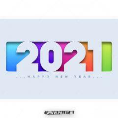 دانلود وکتور طرح 2021 با پس زمینه رنگارنگ