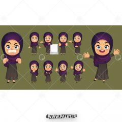 وکتور انیمیشن خانم در حالات مختلف زمینه بنفش
