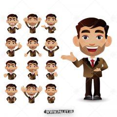 وکتور انیمیشن آقا در حالات مختلف با لباس رسمی