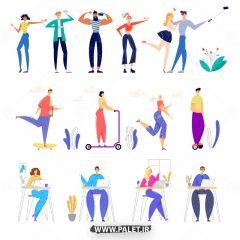 دانلود طرح وکتور اعضای خانواده در حال ورزش
