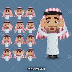 وکتور انیمیشن مرد عرب در حالات مختلف بدنی