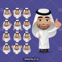 وکتور انیمیشن مرد عرب در حالات مختلف زمینه بنفش