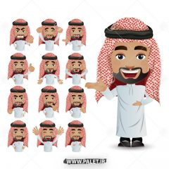 وکتور کاراکتر کارتونی مرد با لباس عربی زمینه سفید