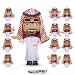 وکتور کاراکتر مرد با لباس عربی تجاری زمینه سفید