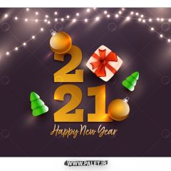وکتور تبریک سال میلادی 2021 و کاج کریسمس