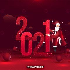 وکتور تبریک سال میلادی 2021 زمینه قرمز