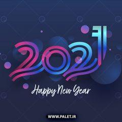 وکتور تبریک سال میلادی 2021 زمینه آبی