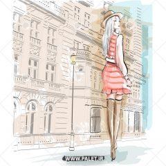 وکتور مد و فشن دختر در خیابان