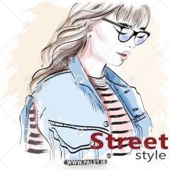 دانلود وکتور دختر مدلینگ با تیپ خیابانی