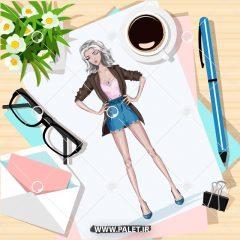 دانلود تصاویر وکتور طرح های کارتونی دختران فشن