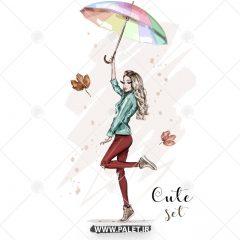 دانلود دختر زیبا با چتر وکتور لایه باز