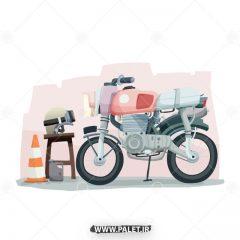 دانلود طرح وکتور موتور سیکلت کارتونی
