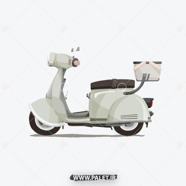 دانلود وکتور موتور سیکلت کارتونی کلاسیک سفید