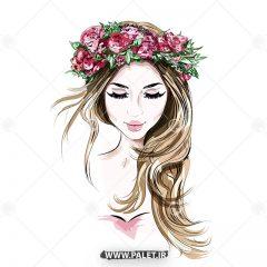 وکتور فشن و مد دختر با موی بلند و تاج سر گل