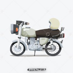 دانلود وکتور موتور سیکلت کارتونی و کلاه کاسکت