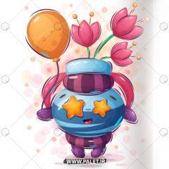 دانلود طرح وکتور کودکانه گلدان عروسکی رمانتیک