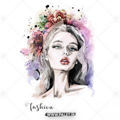 طرح وکتور مد و فشن گل سر زیبا دخترانه