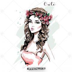 طرح وکتور دختر فشن با گل سر زیبا