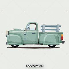 دانلود وکتور ماشین کلاسیک کارتونی سبز