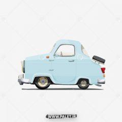 دانلود وکتور ماشین کلاسیک کارتونی آبی