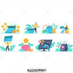 طرح وکتور کاراکتر کارت عابر بانک در حالات مختلف