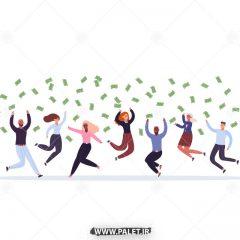 طرح وکتور کاراکتر مرد و زن در حال پول پارو کردن