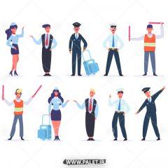 دانلود وکتور کاراکتر مرد و زن پلیس راهنمایی