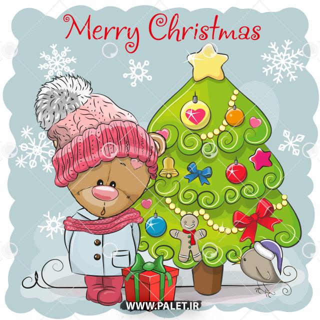طرح وکتور کودکانه عروسکی تبریک کریسمس