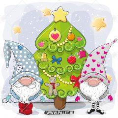دانلود وکتور عروسکی بابانوئل و درخت کاج کریسمس