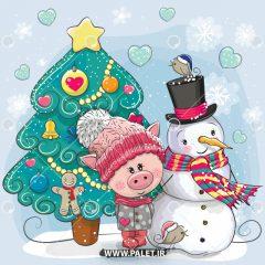 وکتور کارتونی خوک مهربون کنار آدم برفی کریسمس