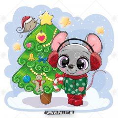 دانلود طرح وکتور کودکانه موش کنار درخت کریسمس