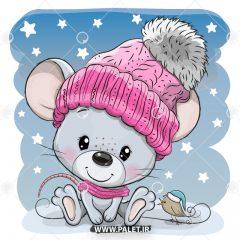 دانلود وکتور کارتونی موش سفید کلاه دار