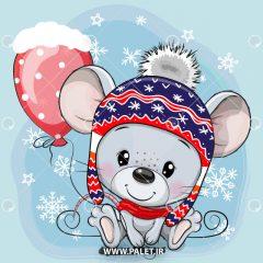 دانلود وکتور لایه باز کارتونی موش با بادکنک کلاه دار
