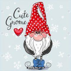 دانلود وکتور کارتونی بابانوئل با کلاه قرمز خال خالی